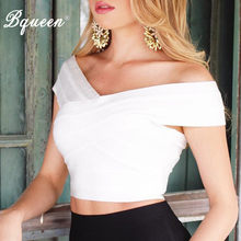 Bqueen 2019 New V-neck Off Shoulder Bandage Top Solid Sexy W