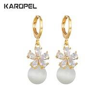 New Trendy Womens Petal CZ Zircon Opal Pierced Dangle Drop Earrings Jewelry Gift