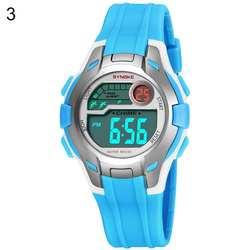Многофункциональный Круглый циферблат Кварцевые Дата Дисплей Сигнализация дети спортивные наручные часы