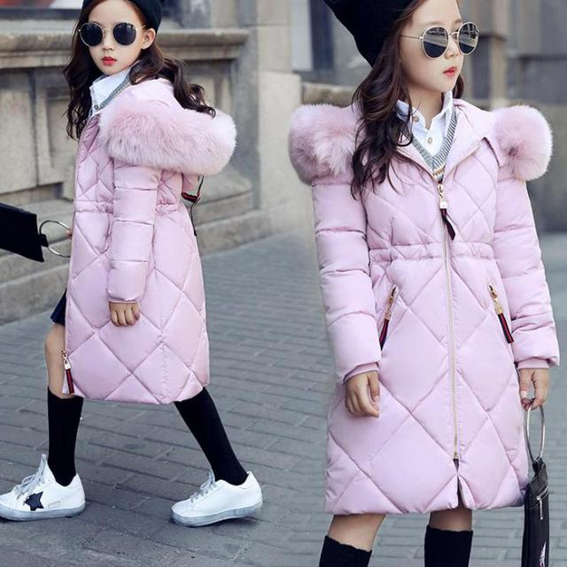 Бренд Пуховое пальто для девочек зимние Мода 2017 г. дети пуховик для девочек с Мех розовая куртка с капюшоном парка Теплая Верхняя одежда 11 12 13 14