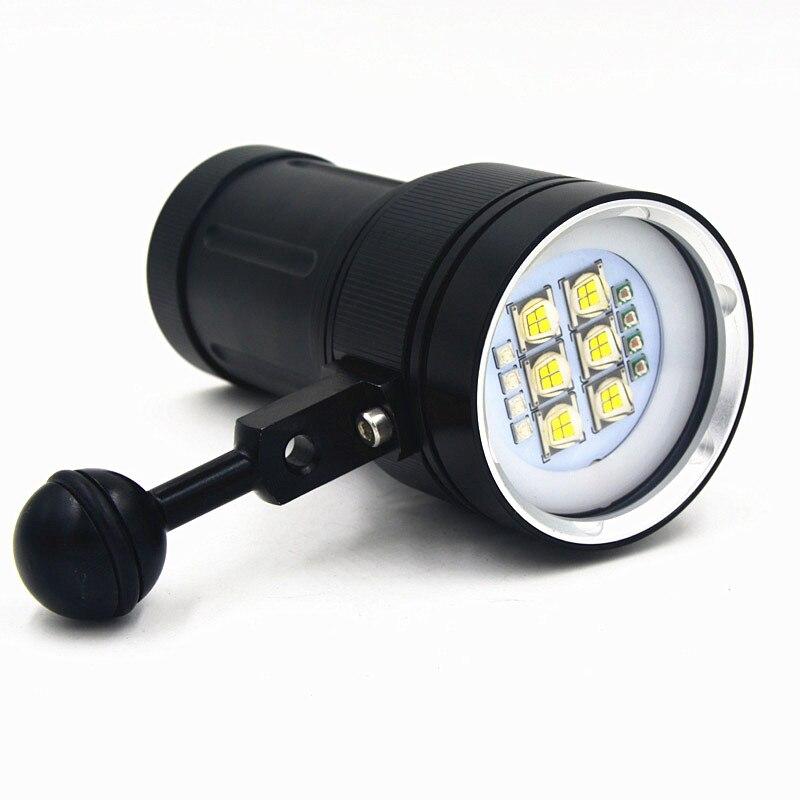 Sous-marine Vidéo 20000lm Lanttern Étanche plongée sous-marine Plongée 18650 lampe de Poche Plongée Lampe Torche lampe Pour la Plongée