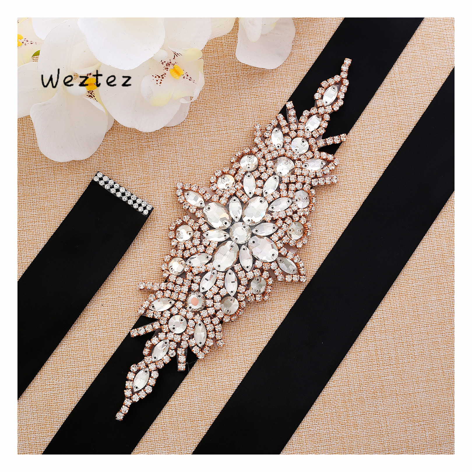 Handmade Rhinestones Wedding Belt Beads Bridal Sash Rose Gold Crystal Bridal Belt  For Wedding Decoration SD101RG
