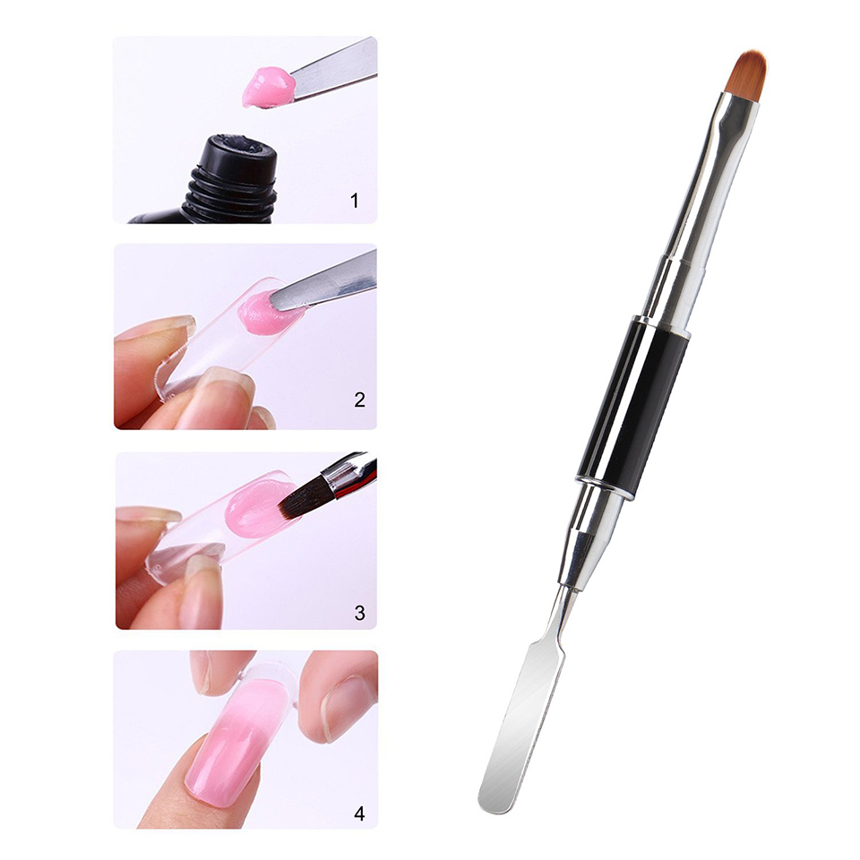 2 In 1 Double Ended Polygel Brush And Pen For Acrylic UV Poly GEL Extension Builder Brush Spatula Stick Manicure Tool