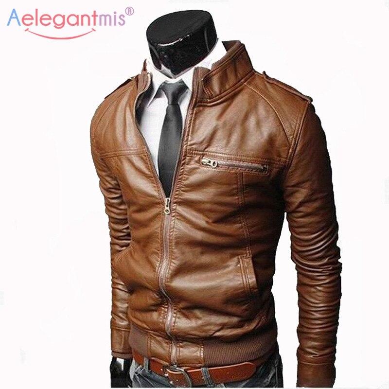 PU Jacket Coat Stand-Collar Moto Faux-Leather Aelegantmis Men Casual Autumn Male Slim