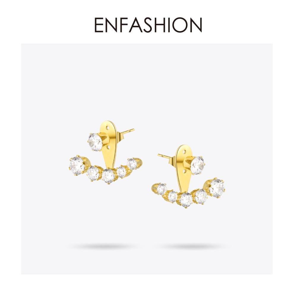 Enfashion Crystal Earrings Ear Jacket Rose Gold Color Earings - Mode-sieraden
