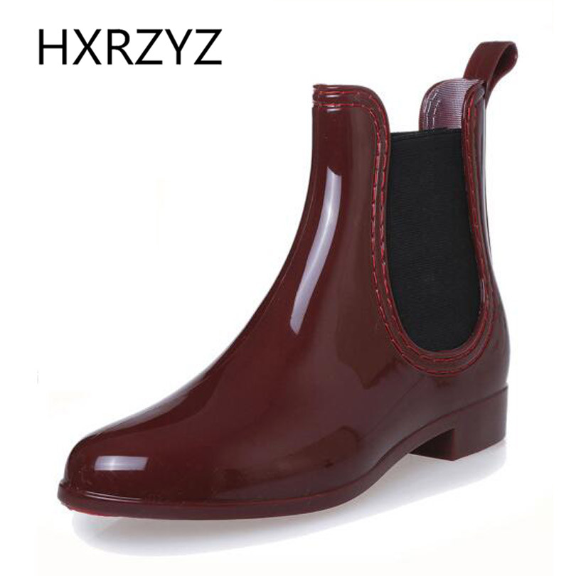 HXRZYZ New fashion Wine Red Rain Boots Women's Waterproof Ankle Boots Jelly Shoes Elastic Band Rain Shoes Rubber soles Boots fashion waterproof chelsea rain boots women ankle rubber jelly shoes botas elastic band rainy shoes red black