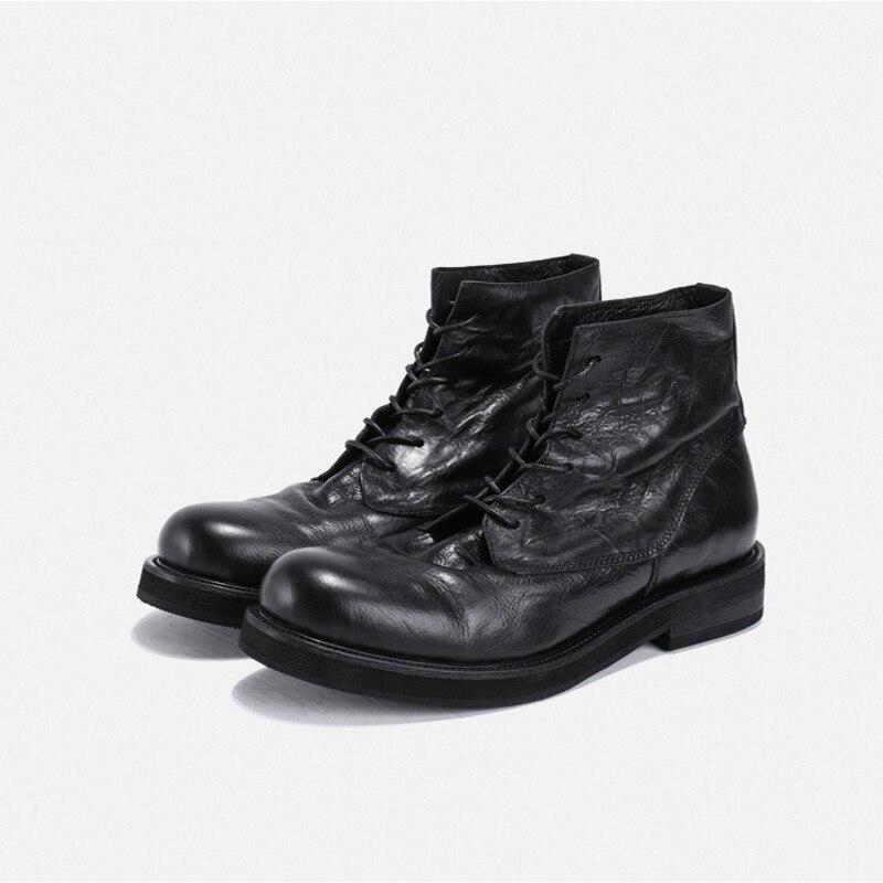 Рабочие ботинки из натуральной кожи в стиле ретро; мужские зимние кроссовки на шнуровке; роскошные кроссовки в британском стиле с высоким берцем; ботинки для верховой езды; повседневная обувь - 5