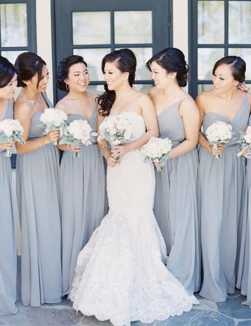 One Shoulder Gray Bridesmaid Gowns Navy Blue Peach Ivory Champagne Silver