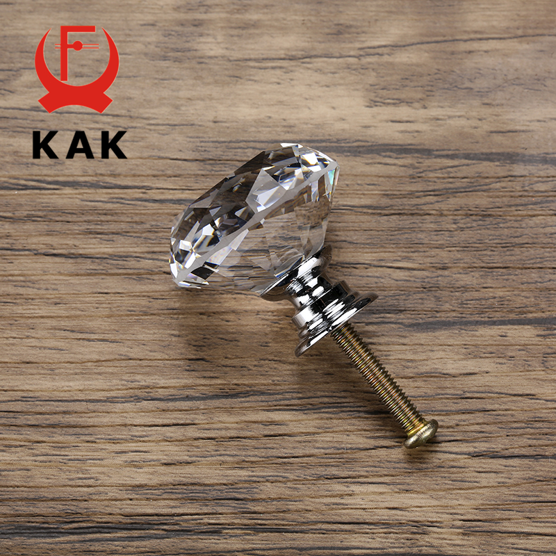 KAK 20-40mm Diamond Shape Design Crystal Glass Knobs Cupboard Drawer Pull Kitchen Cabinet Door Wardrobe Handles Hardware 4