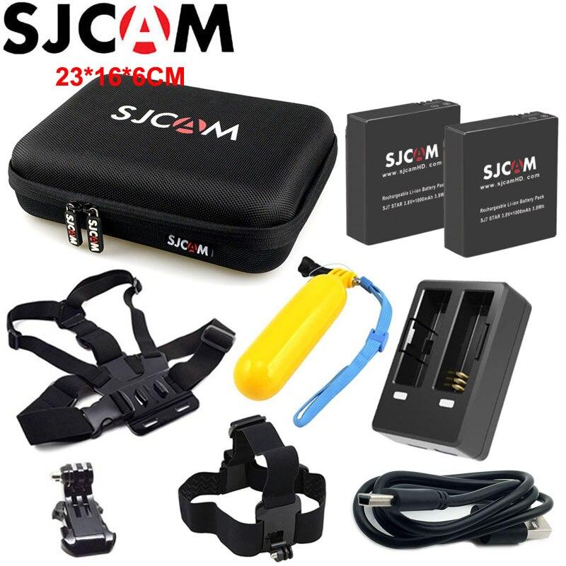 2 unids SJCAM batería + 1 unids cargador Dual para SJ6 leyenda + 1 unids grande bolsa de almacenamiento para SJ7 estrella SJ8 serie batería recargable de Li-ion
