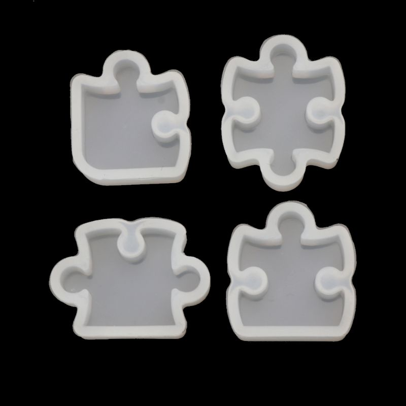 4Pcs Puzzle Gemstone Crystal Mold Silicone Mould DIY Jewelry Pendant Making Tool