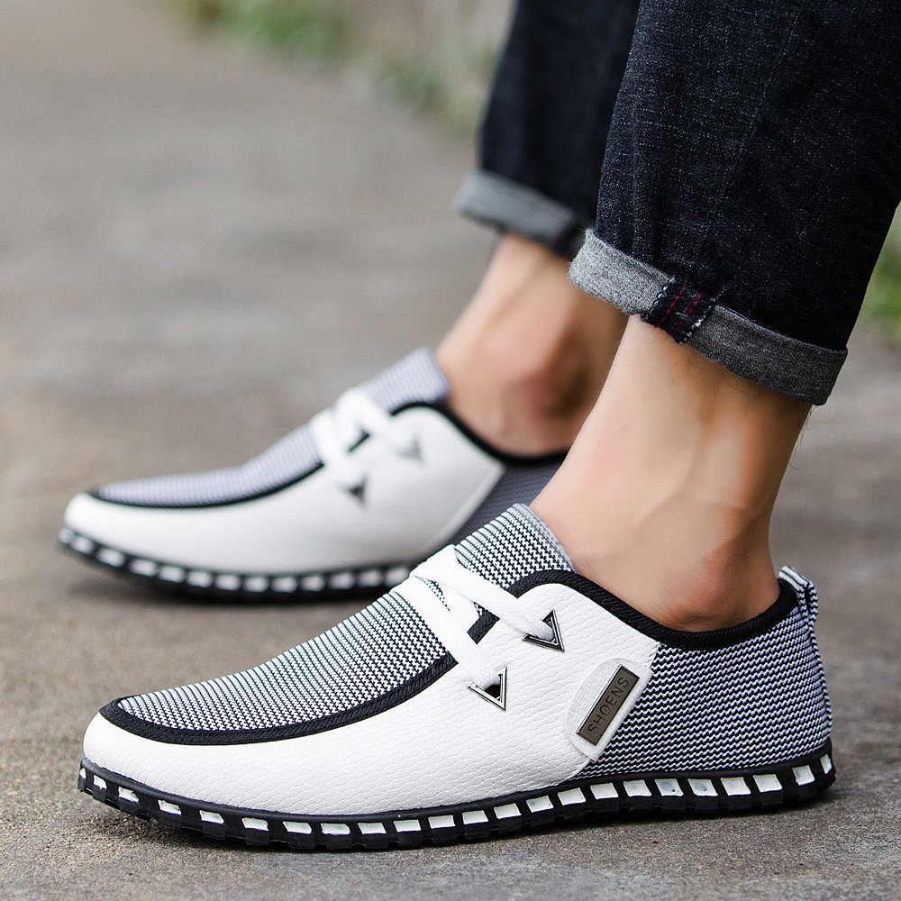 Dropshipping New Men Shoes England Trend Casual Shoes Leather Shoes Breathable Canvas Shoes Male Footear Loafers Men's Flats
