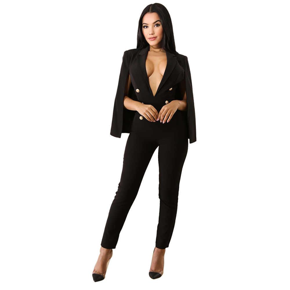 Fashion Wanita Cape Lengan Surplis iRicheraf Wrap Disesuaikan Kantor Wanita Jumpsuits Overall Jumpsuit V Neck Berpisah Lengan Panjang Pant