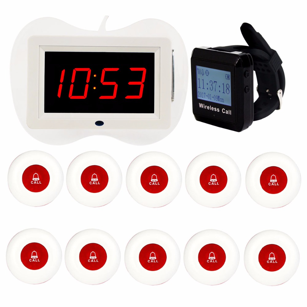 433MHz Wireless Pager Restaurant Paging System Voice Broadcast Receiver Host+ Wrist Receiver+10pcs Call Transmitter Button F3258 wireless service call bell system popular in restaurant ce passed 433 92mhz full equipment watch pager 1 watch 7 call button