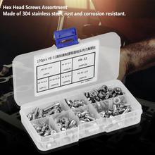 купить 170pcs #8-32 Stainless Steel Screws Nuts Set Hex Socket Screw Cap Head Screws Nuts Assortment Kit Screw Set for laptop tornillos дешево