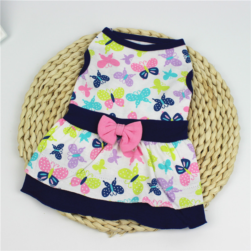 Cute Floral Print Cotton <font><b>Dog</b></font> <font><b>Dresses</b></font> Clothes For <font><b>Dog</b></font> <font><b>Winter</b></font> Warm Pet <font><b>Dog</b></font> Clothes Soft Puppy Vest Chihuahua Costume For Small <font><b>Dog</b></font> image