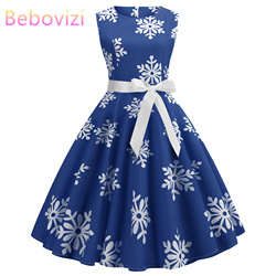 Blue Women Dress 2019 Christmas Casual Snowflake Pinup Vestidos Party Dresses Retro Vintage 50s 60s Robe Femme Rockabilly Swing 1