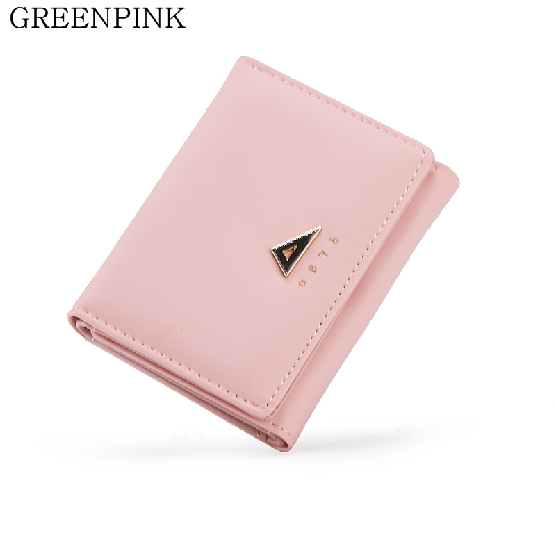 GREENPINK New Women Wallets Fashion Slim Wallet Mini PU Leather Small Wallet for Girls Card Holder Coin Purse Female Clip Wallet