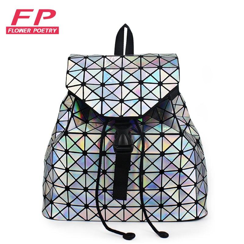 Fashion Women Drawstring Backpack Geometric Female Backpacks For Teenage Girls Bagpack Holographic Ladies Bao School Bag Sac
