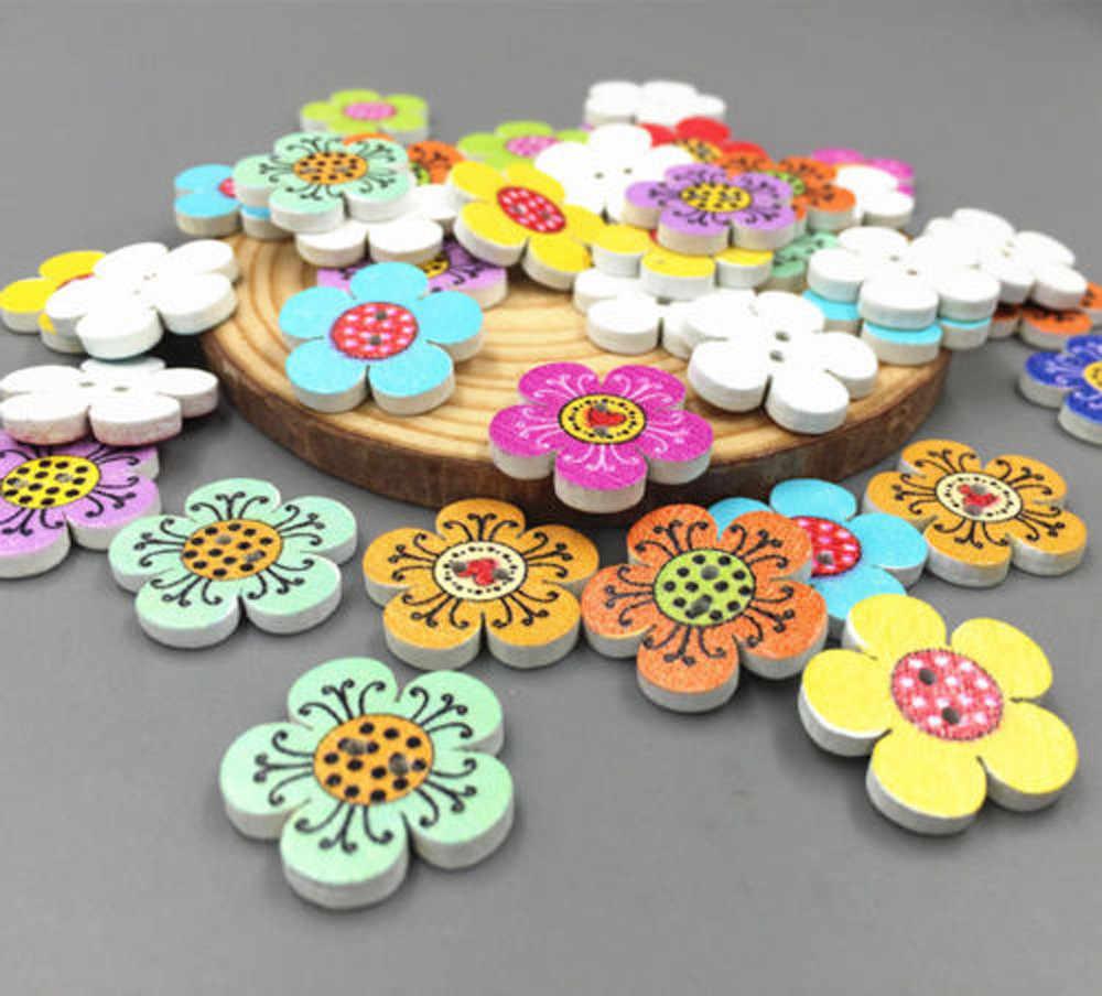 Dropshipping mieszane kolor drewniane kwiaty guziki Scrapbooking dekoracje 2-otwory 20mm