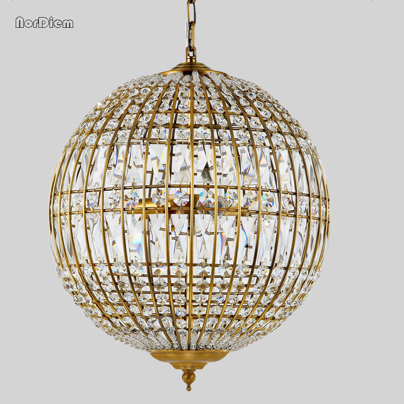American Rustic Industrial Crystal ball Pendant Light Iron lamp Loft Vintage hanging lighting fixtures ems free shipping fashion pendant light cloth lamp cover crystal pendant light wrought iron candle lamp rustic lighting bq6 3
