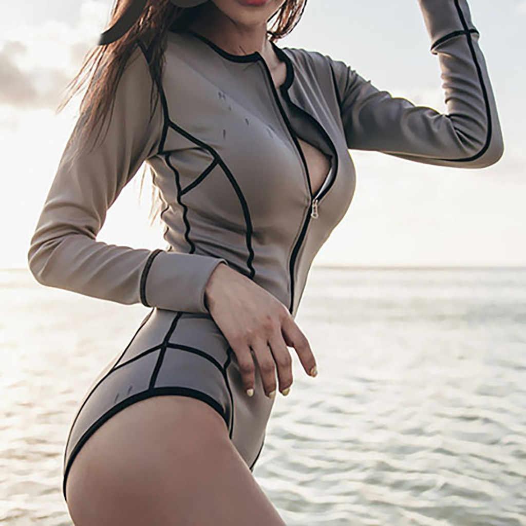CHAMSGEND المرأة بلون مثير طويلة الأكمام واقية من الشمس ملابس السباحة الأزياء الشاطئ منتجع بحر واحد قطعة ملابس السباحة