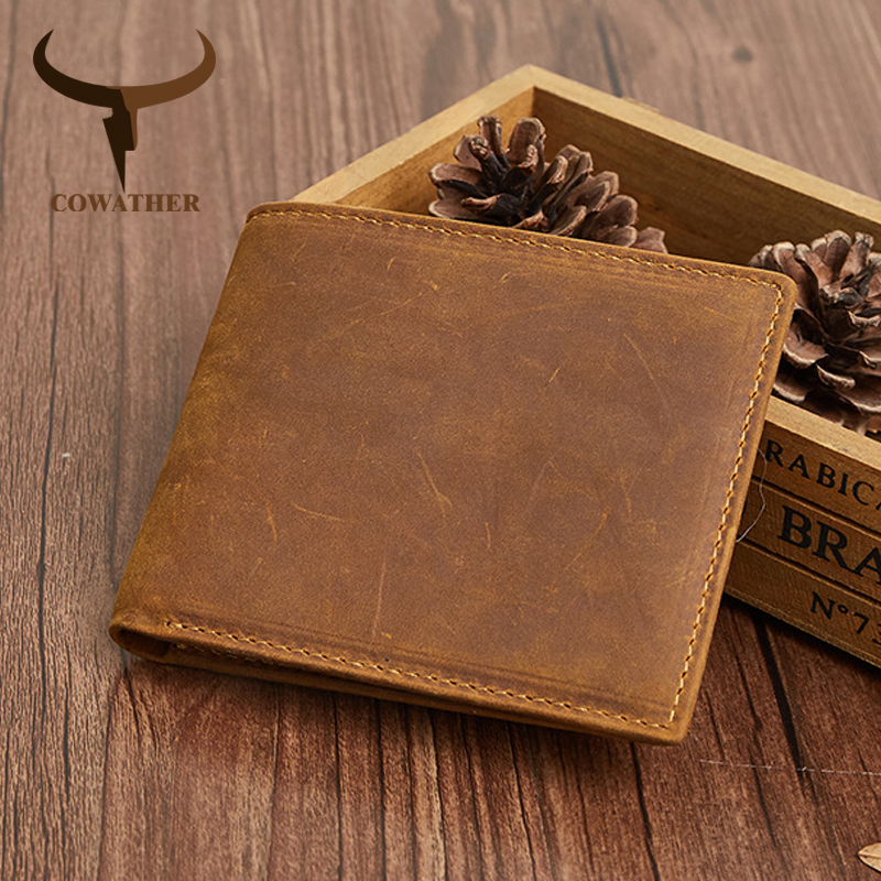 COWATHER High Quality Genuine Leather Short Wallets For Men RFID Fashion Men Wallet Good Male Purse 4 Color Q2046 Free Shipping
