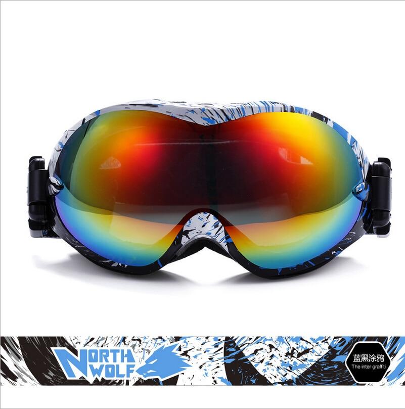 North Wolf brand professional ski goggles 2 double lens anti-fog UV400 big spherical ski glasses skiing men women snow goggles