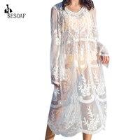 Orchid Hot Selling Lady Loose Vestidos Summer 2015 Women Top Brand Dresses Beige Long Sleeve Sheer
