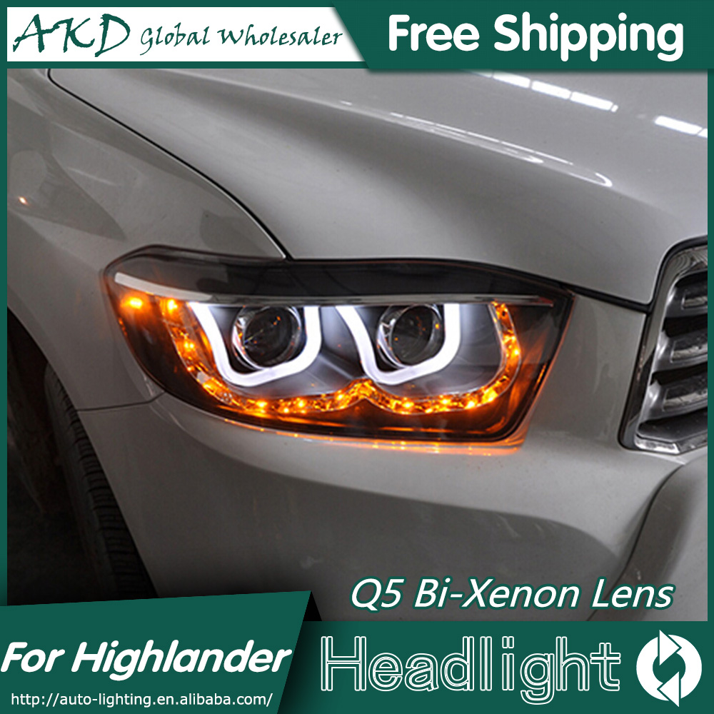 AKD Car Styling for Toyota Highlander Headlights 2007-2011 LED Headlight DRL Bi Xenon Lens High Low Beam Parking Fog Lamp hireno car styling for toyo ta corolla 2011 13 headlights led super bright headlight drl xenon lens high fog lam