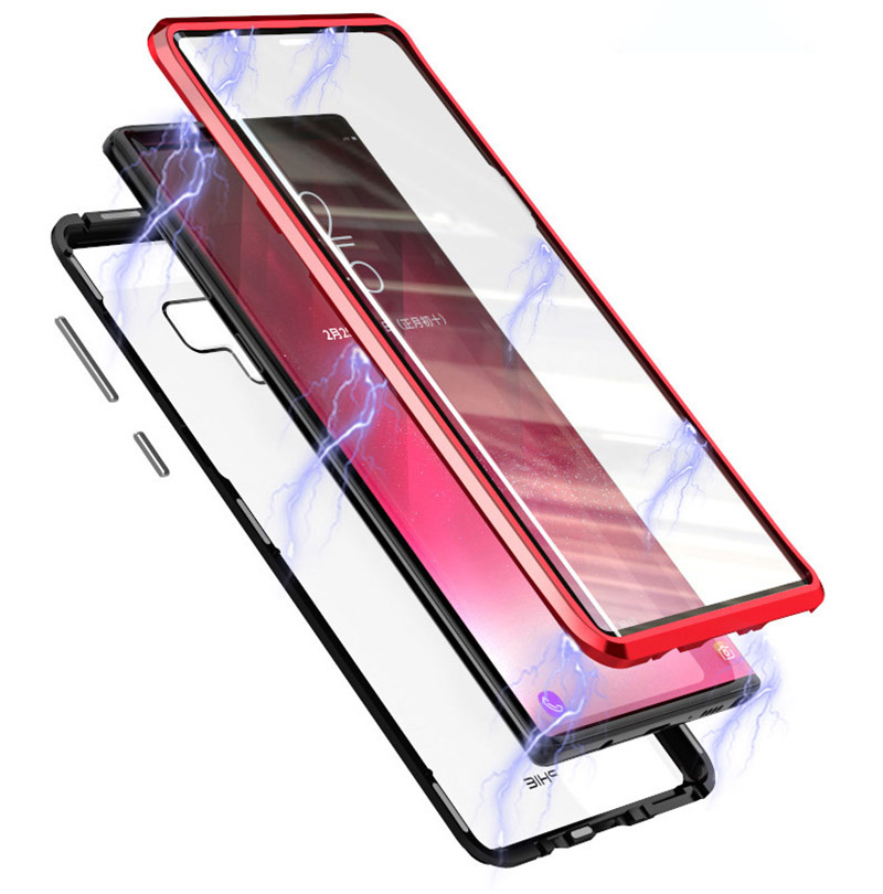 Luxury 360 Double sided front+back glass Magnetic case for samsung galaxy s9 plus note 9 Aluminum metal magnet case cover coque  (5)