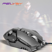FELYBY 10 Million Flexible Wired Mouse Professional Computer Gaming USB Optical Mouse LED4 Color 3200DPI High