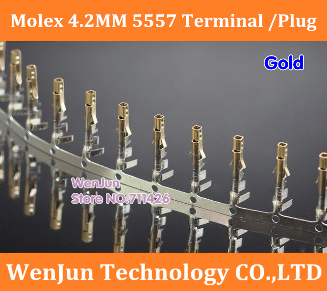 5000PCS/LOT Free Shiping Molex 4.2mm 5557 Connector/plug/ Terminals Gold ,Wire Cable Housing Female Pin