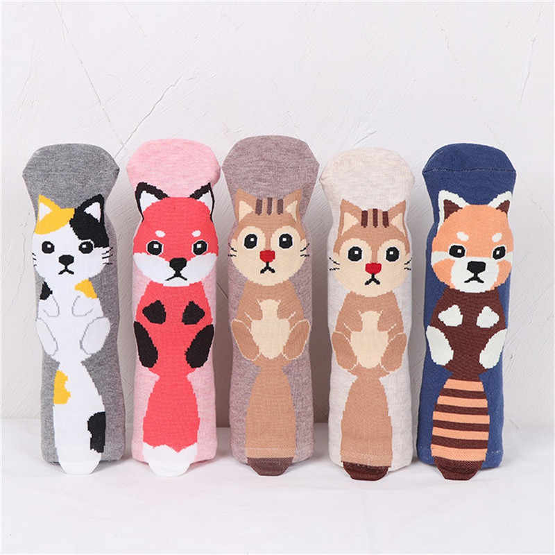 2019 engraçado meias Homem Meias de Algodão de moda confortável Das Mulheres Gato Animal Arte Personagem de Animação Presente Bonito bonito da Peúga