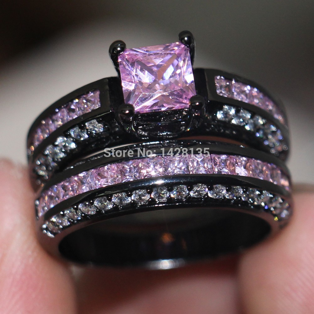 aeproduct - Pink And Black Wedding Rings