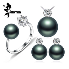 MINTHA Pearl Jewelry Fine wedding engagement jewelry sets Natural Pearl pendant Necklace women stud Earrings crown