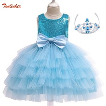 Elsa Costume Dress For Girls Kids Cake Tutu Dresses New Summer Princess Fancy Birthday Theme Party Costumes 2-10 Years Pink Blue все цены
