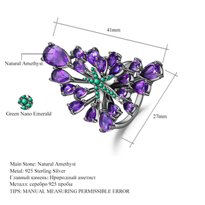 Image 5 - GEMS BALLET 6.18Ct Natural Amethyst Gemstone Cocktail Ring 925 Sterling Sliver Vintage Gothic Punk Ring For Women Party Jewelry
