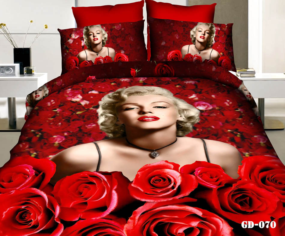 7pcs 3D Marilyn Monroe Red rose print bedding set California king quilt duvet cover fitted bed designer sheet bedroom queen size