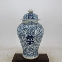 9 Antique QingDynasty porcelain bottle,blue double happiness general cans,Hand painted crafts,Decoration,Collection&Adornment