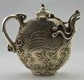 Ремесла статуя Коллекционная Оформлен Старый Ручная Тибет Серебряные Резные Феникс Tea Pot