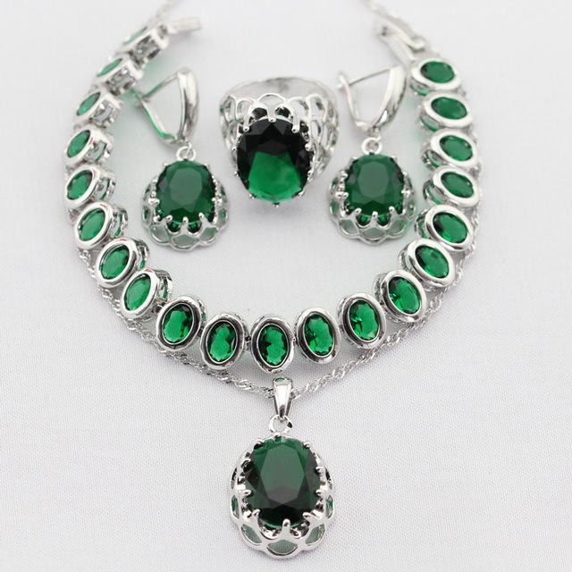 Flower Green Imitated Emerald Silver Plated Women Jewelry Sets Necklace Pendant Drop Earrings Rings  Bracelet Christmas Gifts