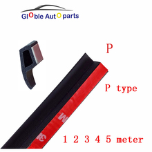New 2 3 4 5 Meter P type 3M Adhesive Car Door Seal For Bmw Benz Audi Kia Noise Sound Insulation Rubber Strips Waterproof Sealing