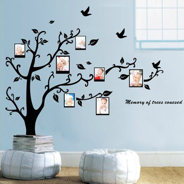 Home Black Tree Design Wall Stickers 50*70 CM Art Mural Sticker Wall ...