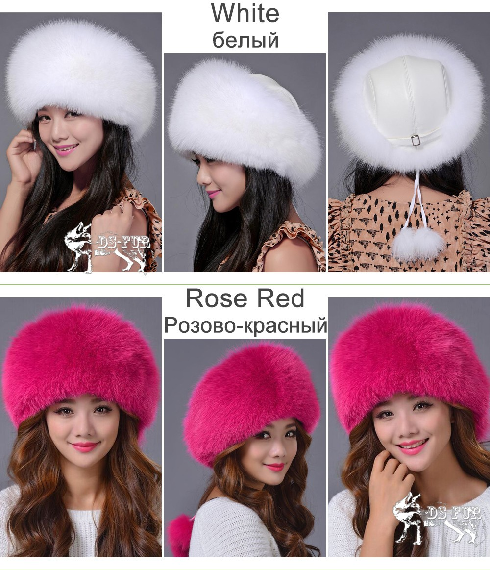 Women leather real fox fur hats03