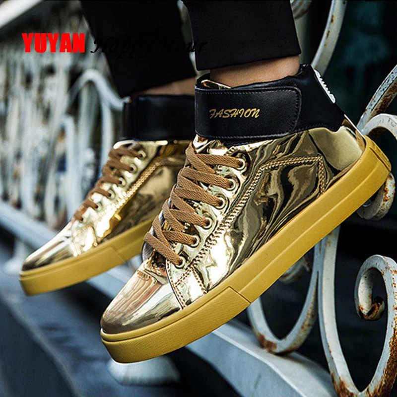 Golden Sneakers Men High top Sneakers
