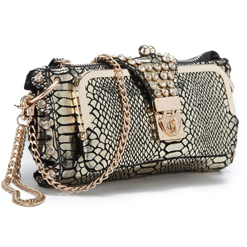 ФОТО Fashion rhinestone cowhide clutch day one shoulder cross-body bag small crocodile pattern genuine leather clutch chain women's