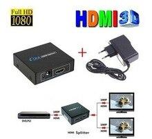 HDMI Splitter 1 Entrée 2 Sortie Amplificateur Switch Box avec puissance adaptateur Hub1x2 HDMI Switcher Pour 3D Audio HDTV 1080 P Vedio DVD