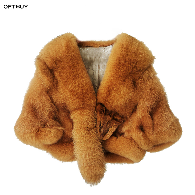OFTBUY autumn winter jacket women tops ponchos and capes 100 real natural fox fur coat 2019 new korean fashion