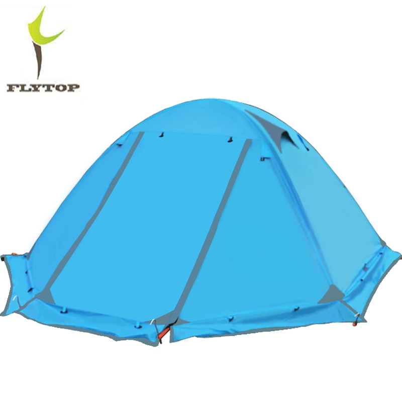FLYTOP Beach Tourist 2 Person Waterproof Tent Winter 210T Polyester Aluminum Double-Layer Outdoor Hiking Camping Tents 4 Season jomake girls dress 2017 new winter cute watermelon printed kids dresses for girls fleece princess dress children clothing 2 7y